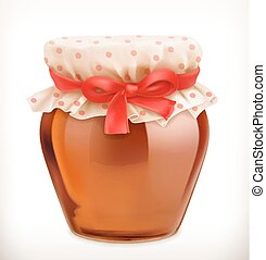 Jar of honey. 3d vector icon