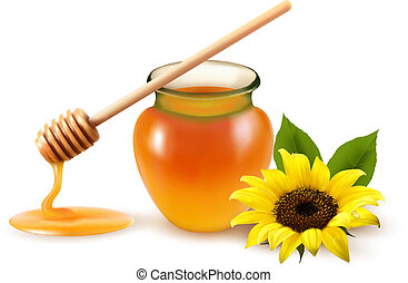 Jar of honey and a dipstick with yellow flower. Vector...