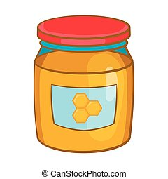 Jar of honey icon, cartoon style