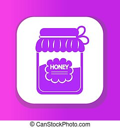 Jar of honey icon, flat style. Isolated on white background. Vector illustration, clip-art