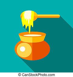 Jar of honey icon, flat style