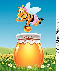 jar of honey in a meadow with bees and flowers