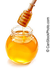 jar of honey isolated on white background