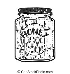 jar of honey sketch engraving vector illustration. T-shirt apparel print design. Scratch board imitation. Black and white hand drawn image.