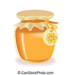 Jar of honey isolated with label