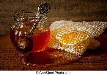 Jar of honey, vintage spoon - honey