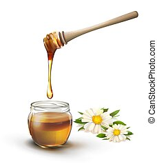 Jar of honey with calendula vector illustration