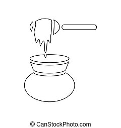 Jar of honey with drizzler icon, outline style - Jar of...