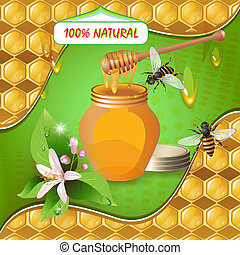 Jar of honey with wooden dipper, bees, flower over background with honeycombs and drops