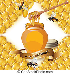 Jar of honey with wooden dipper, bees and ribbon over...