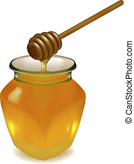 Jar of honey with wooden drizzler. Vector.