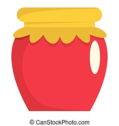 Jar of jam flat cartoon icon. Glass jar vector illustration for design and web isolated on white background. Jar of jam vector object for labels