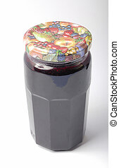 Jar of jam on a white background