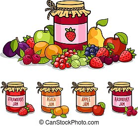 Jar of jam surrounded by fruits and berries. Strawberry, peach, raspberry and apple. Vector illustration.
