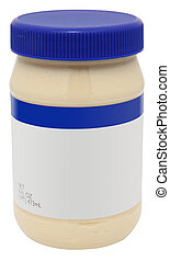 16 oz jar of mayonaise with blank label over white.