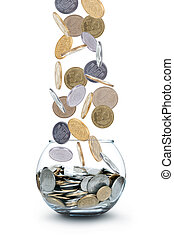 Jar of Money Isolated on a White
