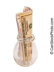 Jar of Money Isolated on White Background