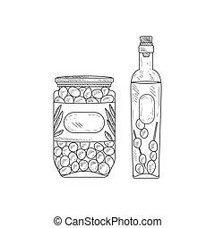 Jar Of Olives And Bottle Olive Oil Hand Drawn Realistic Sketch