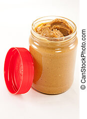 Jar of peanut butter with lid