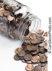 Jar of pennies tipped over