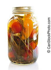 Jar of pickled vegetables - Clear glass jar of colorful...