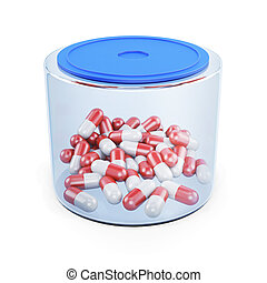 Jar of pills isolated on white background. 3d rendering