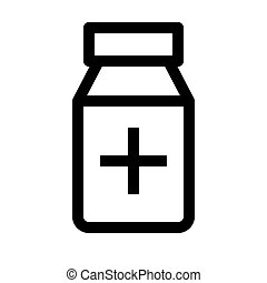 Jar of pills line icon. Medical bottle symbol