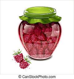 Jar of raspberry jam. Vector illustration