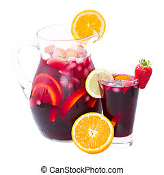 jar and tall glass of cold sangria wine isolated on white background