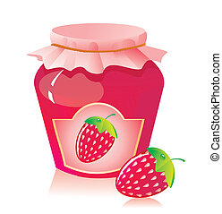 Jar of strawberry jam and strawberry