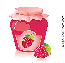 Jar of strawberry jam and strawberry