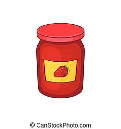 Jar of strawberry jam icon, cartoon style