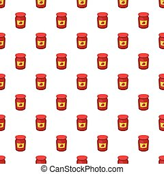 Jar of strawberry jam pattern, cartoon style