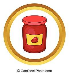 Jar of strawberry jam vector icon