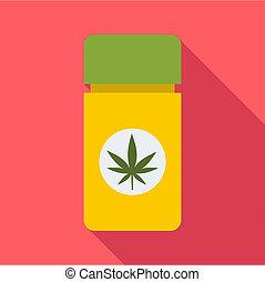 Jar pills marijuana icon, flat style