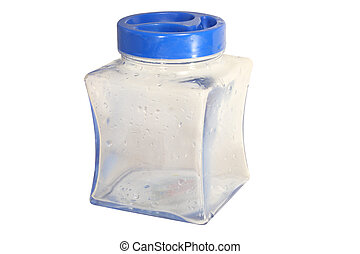 jar with blue cover