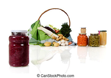 Jar with canned red cabbage, canned and fresh vegetables - ...