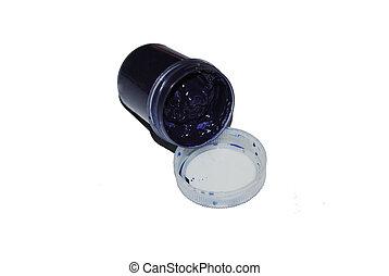Jar with dark blue paint