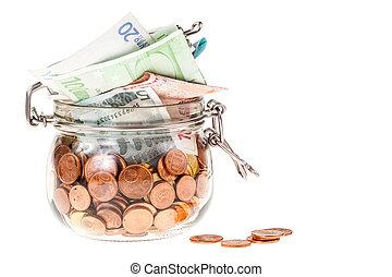 jar with euros isolated