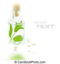 Jar with fresh leaves