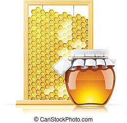 jar with honey and honeycomb vector illustration isolated on white