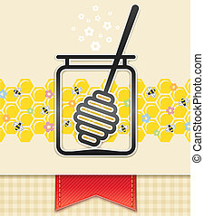 jar with honey and spoon. food background