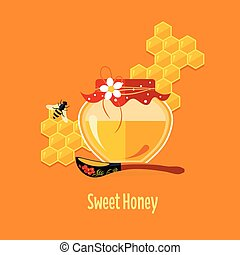 Jar with Honey Vector Illustration - Jar with honey vector...