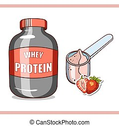 Jar With Strawberry Protein