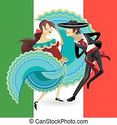 jarabe, mexikó, nemzeti, táncol, mexica
