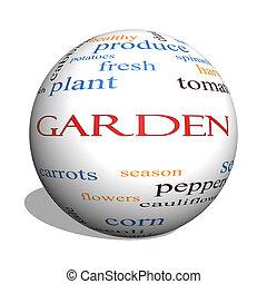 jardín, 3d, esfera, palabra, nube, concepto