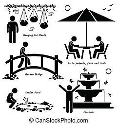 jardín, al aire libre, accesorios, iconos
