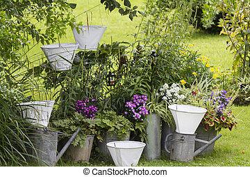 jardín, amueblado