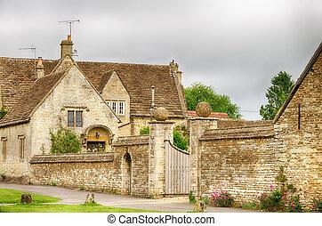 jardín amurallado, inglaterra, wiltshire, aldea, castillo ...