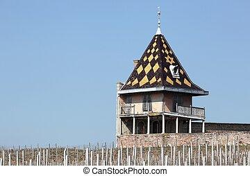jardín, beaujolais, francia, torre, portier, residencia lujosa